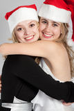 Portraits of two beautiful girls Royalty Free Stock Images