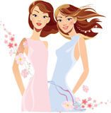 Portraits two beautiful girls with flowers Royalty Free Stock Images