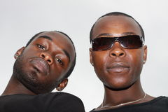 Portraits of two black men. Close up portraits of two black men Stock Image