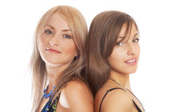 Portraits of two young women stock image