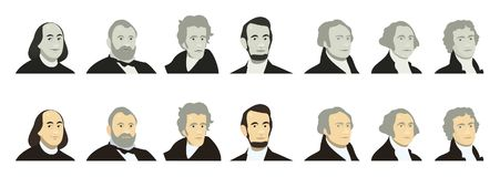 Portraits of US Presidents and famous politicians. Stylized like on US Dollar banknotes money of USA. George Washington. Thomas Jefferson, Abraham Lincoln Vector Illustration