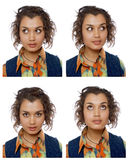 Portraits of woman in different emotions Royalty Free Stock Image