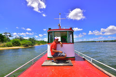 Portraits of the world. Alagoas. Brazil. Boat driver that crosses the cities of Penedo and Santana do San Francisco. State of Alagoas and Sergipe, Brazil Stock Image