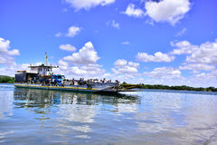 Portraits of the world. Alagoas Brazil. Ferry that transports vehicles and people between the cities of Penedo and Neópolis Royalty Free Stock Photography