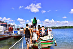 Portraits of the world. Alagoas. Brazil. Passengers boarding by boat in the city of Penedo, state of Alagoas, Brazil Royalty Free Stock Photography