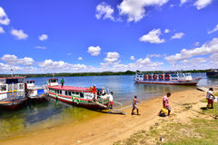 Portraits of the world. Alagoas. Brazil. Passengers disembarking by boat in the city of Penedo, state of Alagoas, Brazil Royalty Free Stock Image