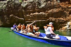Portraits of the world. Alagoas Brazil. Tourists in the canyons of the São Francisco River. City of Piranhas, State of Alagoas Brazil Stock Photos