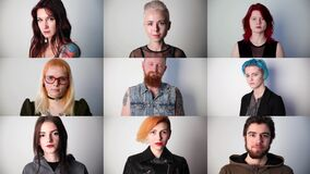 Portraits of young modern serious people in the studio, collage