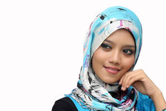 Portraits of young muslim woman. Smiling over white background Royalty Free Stock Photos