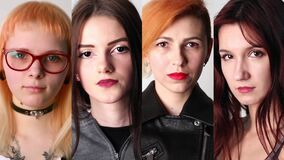 Portraits of young serious modern women in studio, collage