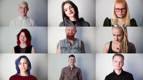 Portraits of young smiling modern people in studio, collage