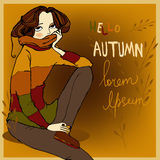 Portraits of young woman. Portraits of young beautiful autumn women royalty free illustration