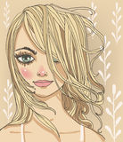 Portraits of young woman. Portraits of young beautiful summer women vector illustration