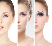 Portraits of young women in makeup royalty free stock photos