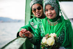 Portraiture of just married couple Royalty Free Stock Images