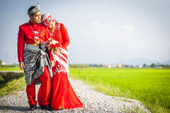 Portraiture of just married couple Royalty Free Stock Photo
