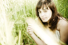 Portraqit among wheat Stock Image
