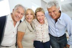 Portrat der Gruppe netter nobler älterer Freunde Stockbild