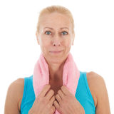 Portrat mature woman at fitness Royalty Free Stock Photos