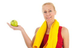 Portrat mature woman at fitness Royalty Free Stock Photo