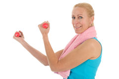 Portrat mature woman at fitness Stock Images
