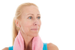 Portrat mature woman at fitness Royalty Free Stock Images