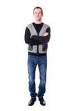 Portrat in voller Länge des hübsche Mitte gealterten Mannes lokalisiert auf Whit Lizenzfreies Stockfoto