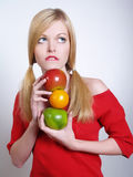 Portrate of beautiful girl with the fruits Royalty Free Stock Photography
