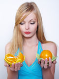 Portrate of beautiful girl with oranges. Portrate of beautiful girl with the big bright oranges Royalty Free Stock Photography