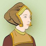 Portrate för kvinna` s medeltida klänninglady Medeltida legend medeltida kvinna Royaltyfri Foto