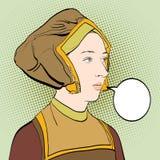 Portrate för kvinna` s medeltida klänninglady Medeltida legend medeltida kvinna Royaltyfria Foton