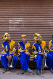 Portrati of unidentified indian musicians from traditional wedding band on the street of Vrindavan, India. Vrindavan, India - March 20, 2016: Portrati of Royalty Free Stock Image