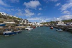 Portreath fishing harbor at  Cornwall Stock Image