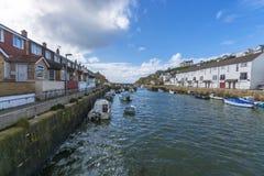 Portreath fishing harbor at  Cornwall Royalty Free Stock Photos