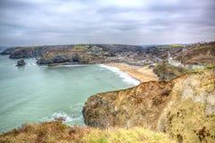 Portreath norr Cornwall England UK mellan St Agnes och Godrevy i HDR Royaltyfri Bild