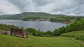 Portree Bay with Portree Harbor in the background, Isle of Skye, Highlands, Scotland, UK Stock Photography