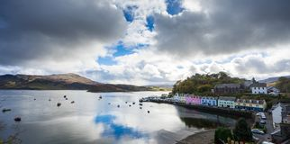 Portree harbor Skye isle Scotland. Highlands royalty free stock image