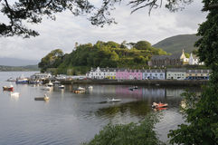Portree Quay. Boats in Portree Harbour, Portree Quay, Isle of Skye Stock Photo