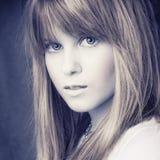 Portreit attractive blond girl. Portreit attractive blond puppet girl Royalty Free Stock Photos