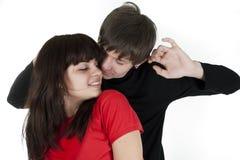 Portreit of dancing couple on white Royalty Free Stock Photos