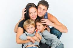 portretów rodzinni szczęśliwi potomstwa Obrazy Royalty Free