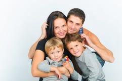 portretów rodzinni szczęśliwi potomstwa Zdjęcia Royalty Free