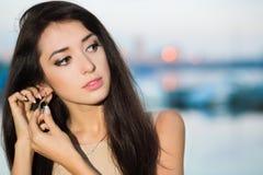 Portret ładna brunetka zdjęcia stock
