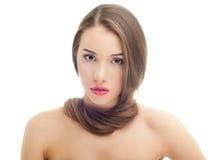 Portret ładna młoda kobieta z długie włosy Obrazy Stock