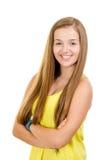 Portret ładny, nastoletni dziewczyny ono uśmiecha się, zdjęcia royalty free
