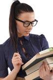 Portret ładny uczeń z książkami Fotografia Royalty Free
