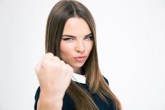 Portret śliczna kobieta pokazuje pięść Fotografia Stock