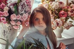 Portret śliczna mała dziewczynka z długim brown włosy i przebijanie spoglądamy będący ubranym elegancką suknię, pozuje z kwiatami Fotografia Royalty Free