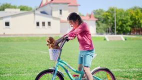 Portret śliczny małej dziewczynki obsiadanie na bicyklu zdjęcie wideo