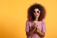 Portret śmieszna afro amerykańska kobieta Zdjęcie Stock